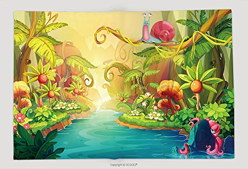 Supersoft Fleece Throw Blanket Creative Illustration And Innovative Art Fairy River With Snail. Realistic Fantastic Cartoon Style Artwork Scene, Wallpaper, Story Background, Card Design 265326470