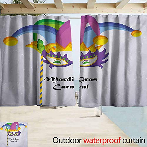 AndyTours Rod Pocket Top Blackout Curtains/Drapes,Mardi Gras Mardi Gras Carnival Inscription with Traditional Party Icons Clown Costume Hat,Simple Stylish Waterproof,W63x72L Inches,Multicolor -