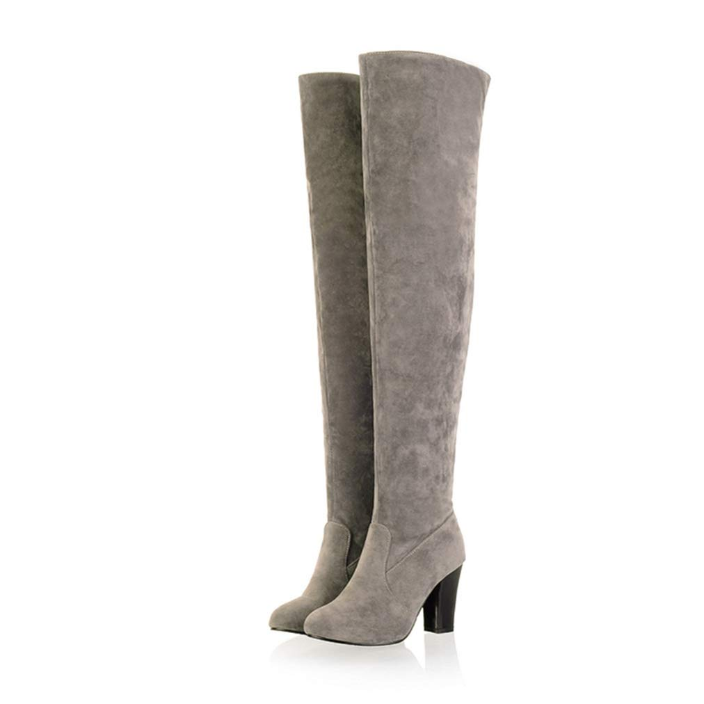 Women's Gray Faux Suede Over the Knee Round Toe High Block Heel Pirate Boots - DeluxeAdultCostumes.com