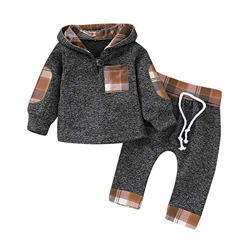 CPEI Toddler Infant Baby Boys Deer Long Sleeve Hoodie Tops Sweatsuit Pants Outfit Set (Khaki, 6-12 Months)