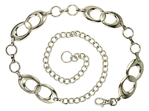 Ladies Metal Oval Circle Chain Belt Size: One-size-fits-all Color: Silver