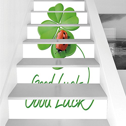Stair Stickers Wall Stickers,6 PCS Self-adhesive,Going Away Party Decorations,Lucky Symbols Four Leaf Clover with Ladybug Irish Charm,Green Red Black,Stair Riser Decal for Living Room, Hall, Kids Room -