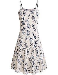 Womens Sleeveless Floral Printed Swing Sundress Spaghetti Straps Mini Skater Dresses