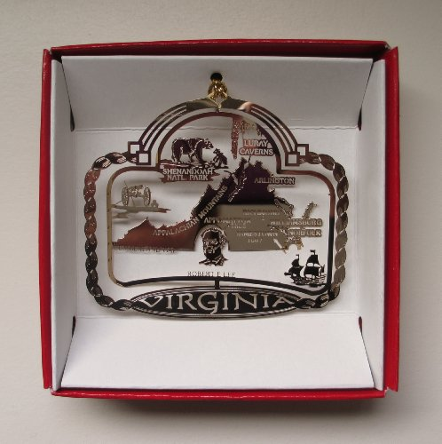 Virginia State Brass Christmas ORNAMENT Souvenir Gift