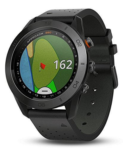 Garmin Approach S60 (Premium) Gift Box Bundle | Includes Glass Screen Protector, PlayBetter USB Car/Wall Charging Adapters & Protective Hard Case | Golf GPS Watch (Ceramic Bezel/Black Leather Band) by PlayBetter (Image #1)