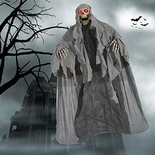 Aobuy 5.6 Ft. Halloween Hanging Ghost Decoration, Scary Skeleton Grim Reaper |Halloween Animated Screaming Decor Prop