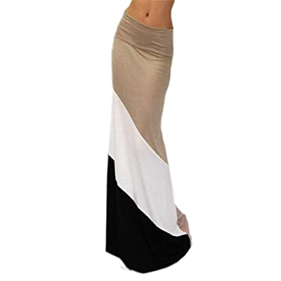 Goldensat Women Summer High Waist Beach Long Skirt M Khaki