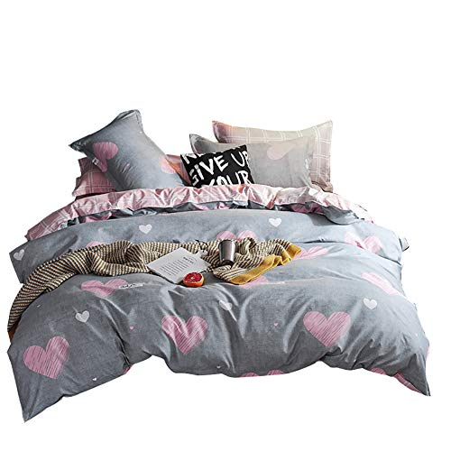 Luofanfei Teen Bedding for Girls Grey Pink Duvet Cover Heart Shape Twin Bedding Sets for Teens Reversible Grid Comforter Cover 3PC Bedding Collection,Zipper Closure, Twin Size ()