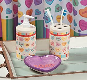 Amazon Com Conversation Hearts Bathroom Accessories Set