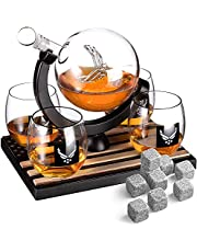 Whiskey Decanter Set with 4 Liquor Glasses - Navy Whisky Decanter & Glass Set with Wood Base and 9 Whiskey Stones - US Navy Gifts for Men - Globe Bourbon and Scotch Decanter - Veteran Military Gifts