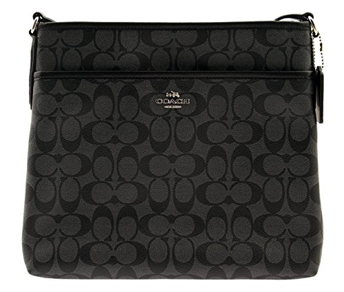 COACH Signature Coated Canvas File Bag Crossbody, F58297 (Black / - Online Coach Outlet