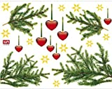 Christmas Poster-Sticker For Windows - Hearty Fir Tree Branches (26 x 20 inches)