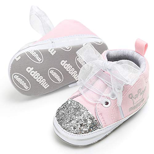 Unisex Baby Boys Girls Star High Top Sneaker Soft Anti-Slip Sole Newborn Infant First Walkers Canvas Denim Shoes ()