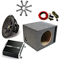 Kicker 12 Comp Sub DXA2501 Amp with Grill,Amp Kit,Enclosure Bundle