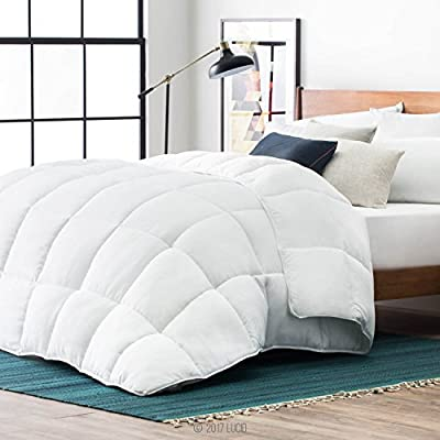 LUCID Down Alternative Comforter - Hypoallergenic - All Season - 400 GSM - Ultra Soft and Cozy - 8 Duvet Loops - Box Stitched - 3 Year U.S. Warranty - Machine Washable - White