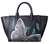 Pifuren Floral Designer Purses and Handbags Womens Totes Flower Bag H77805(One Size, Black Butterfly)