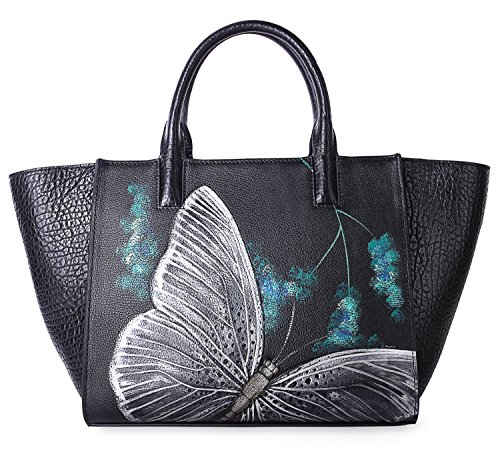 Pifuren Floral Designer Purses and Handbags Womens Totes Flower Bag H77805(One Size, Black Butterfly) by PIFUREN