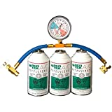 3 Cans - REDTEK A/C Refrigerant (6 Ounce Can) with Gauge Hose