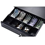 Aibecy Heavy Duty Electronic Cash Drawer Box Case Storage 5 Bill 5 Coin Trays Check Entry Support Auto Manual Open Key-lock RJ11 for Epson Star POS Printer Money Register