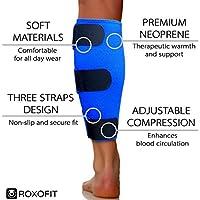 Calf Brace - Shin Splint Support for Calf Pain Relief Muscle Tear Strain Sprain Shin Splints Tennis Leg Calf Injury. Best Compression Lower Leg Brace for Men Women. Calf Compression Sleeve Running from Roxofit