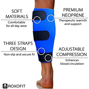 Calf Brace - Shin Splint Support for Calf Pain Relief Muscle Tear Strain Sprain Shin Splints Tennis Leg Calf Injury. Best Compression Lower Leg Brace for Men Women. Calf Compression Sleeve Running from Roxofit