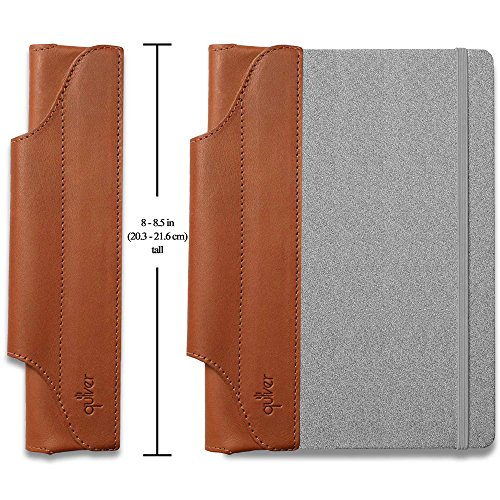 QUIVER Pen Holder For Notebook | Single Pen Holder | Elastic/Reusable/Non-Adhesive | For Use With Moleskine/Leuchtturm1917/AmazonBasics Notebooks 8-8.5 Inches Tall (Brown Leather/Brown Stitching)