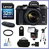Canon EOS M5 Mirrorless Digital Camera with 18-150mm Lens Bundle, Includes: 32Gb SDHC Class 10 Memory Card + Full Size Tripod + Flash + more ...