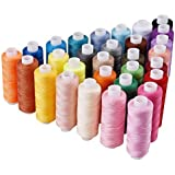 HMMS 30 Spools Sewing Thread, 250 Yard Each Assorted Polyester Threads Sewing Hand Machine Thread Bobbins Sets of Colorful Assortment Coil Thread Kit for Hand and Embroidery Machine Use