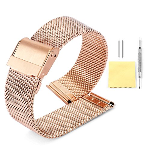 10 Watch Mm Band (Milanese Mesh Watch Band 4 Color(Gold,Sliver,Black,Rose Gold) 12 Size(10mm,12mm,13mm,14mm,15mm,16mm,17mm,18mm,19mm,20mm,21mm,22mm))