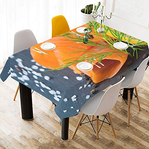 (Danexwi Fresh and Juicy Salmon Custom Cotton Linen Printed Square Stain Resistant Table Linens Cloth Cover Tablecloth for Kitchen Home Dining Room Tabletop Decor 60x84 Inch)