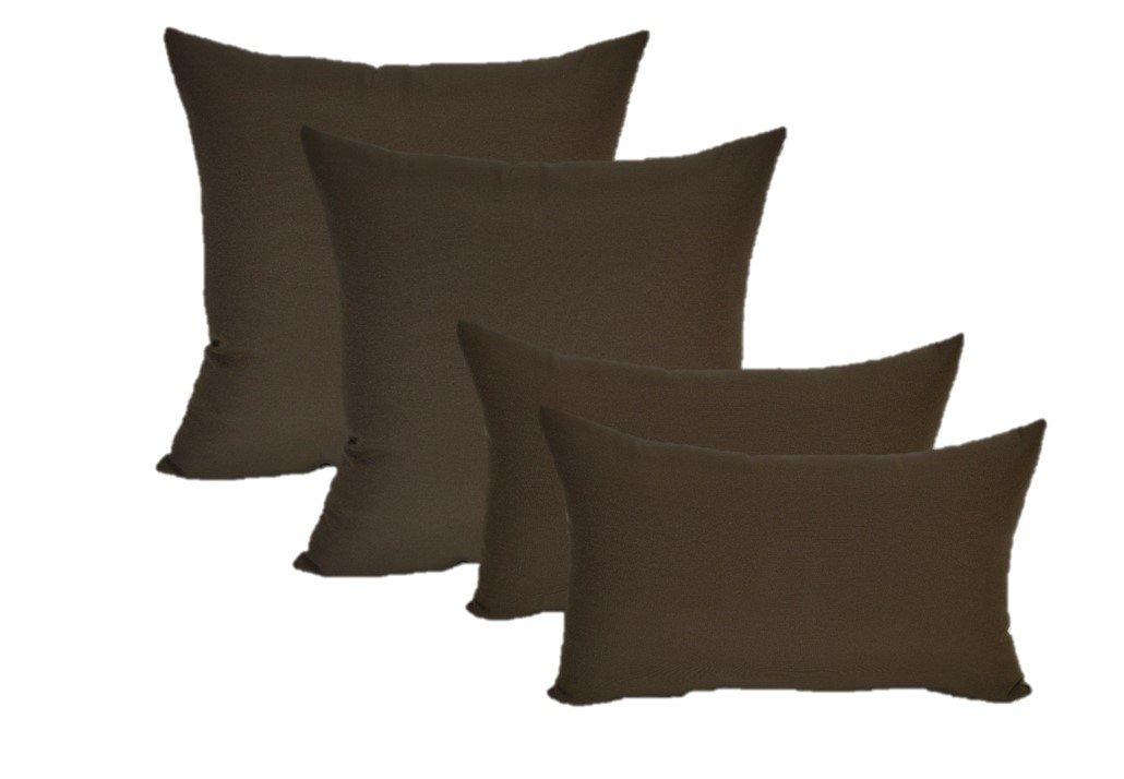 Set of 4 Indoor / Outdoor Pillows - 20'' Square Throw Pillows & 11'' x 19'' Rectangle / Lumbar Decorative Throw Pillows - Solid Dark Brown Fabric