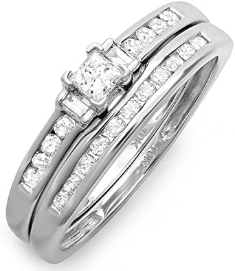 DazzlingRock - Juego de anillos de compromiso de oro blanco de 10 quilates con diamantes de talla princesa y baguette (0,60 quilates, color G-H, claridad Si-I)