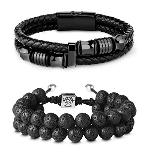 Hanpabum 2PCS 8mm Lava Rock & Leather Bracelets Set for Men Double-Row Black Braided Leather with Stainless Steel Ornaments