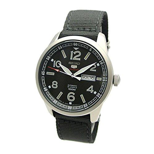 Seiko 5 Sports Men's Black Face Nylon Band  Automatic Watch SRP625J1