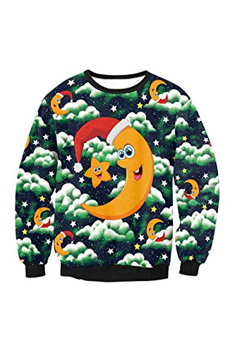 Kisscy Women's Long Sleeve Funny Cute Moon Printed Casual Crewneck Xmas Sweatshirt Hoodies Tops ()