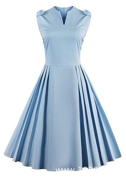 Vestiti Eleganti Azzurri.Louis Rouse Donne Vintage Vestito Azzurro Colore Solido