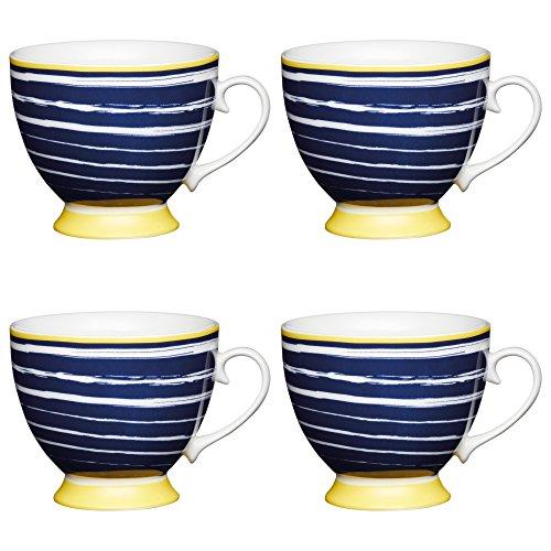 Kitchen Craft Large Bone China 'Navy Stripes' Footed Paint-Style Printed Mugs, 400 ml - Blue/Yellow (Set of 4)