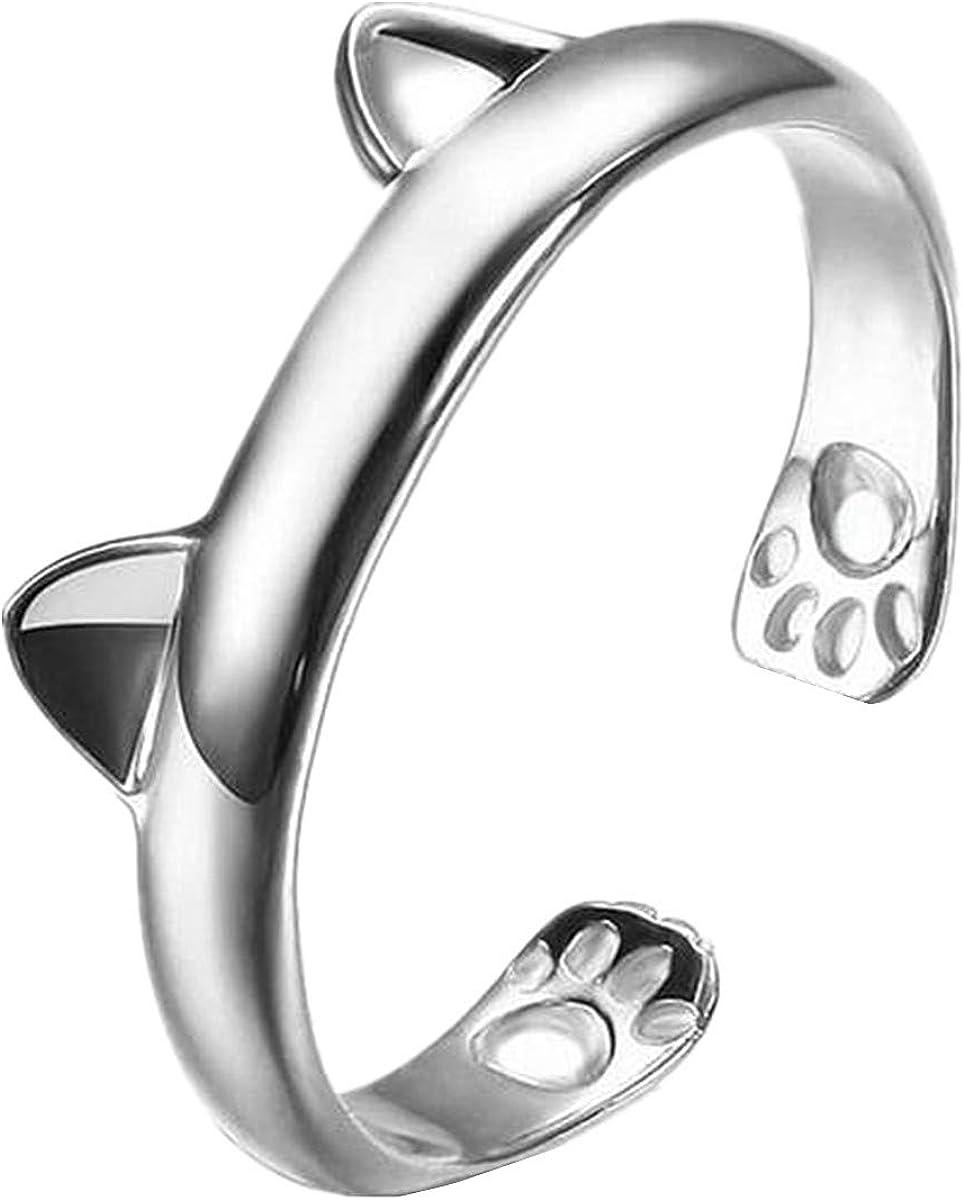 Motif chat Bague de queue Cadeau danniversaire pour femme Ouverture du pied Bague pour femme en argent 925 Bague r/églable