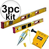 Stabila 39008 4' + 2' #196 2pc Box Levels w/ Lights Set + Tajima Plumb Bob