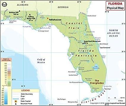 Amazon.com : Florida Physical Map - Laminated (36