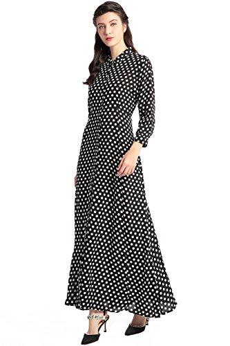 Nero kaftan de Vestito di vestito dalla festa vestito dall'annata vestito camicia di vestidos dal vestito lungo stile di manicotto musulmano donne delle Boho stampa da floreale wSRwxzA4qr