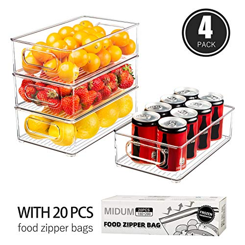 Refrigerator Organizer Bins, 4pcs Clear Plastic Stackable Fridge Containers with Handlefor Freezer, Cabinet, Fridge, Kitchen Pantry Organization and Storage,BPAFree, 10\