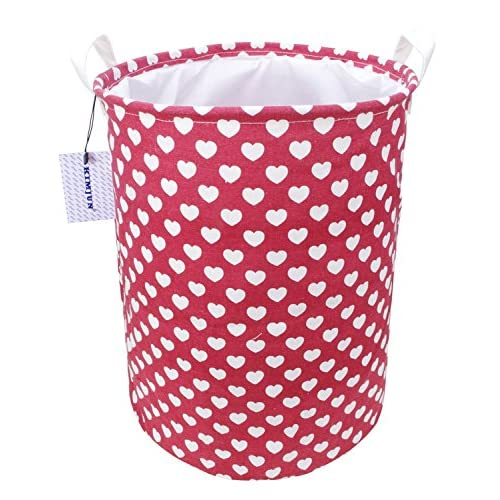 Wholesale Kimjun Waterproof Coating Foldable Cotton Linen Laundry Hamper Kids Toy Organizer Storage Basket with Lid Heart Red for cheap