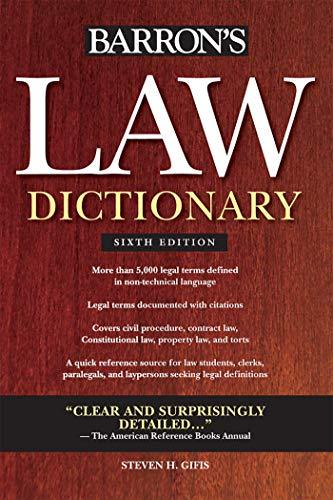 Pdf Law Barron's Law Dictionary (Barron's Law Dictionary (Quality))