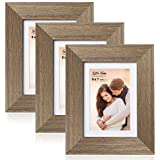 LaVie Home 5x7 Picture Frames with mat(3 Pack,Brown) Woodgrain Photo Frame with High Definition Glass for Wall Mount & Table Top Display, Set of 3 Serendipity Collection