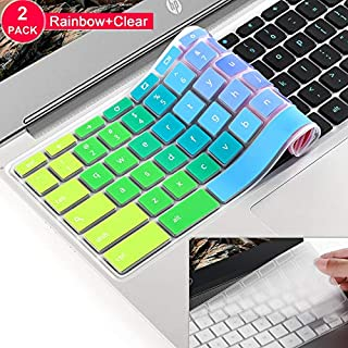 [2 Pack]Keyboard cover for ASUS C202SA C200 C200MA C201 C201PA C213SA,C223,C300 C300MA C300SA C301SA, ASUS Chromebook 13 keyboard Protector Skin Cover,ASUS Chromebook 11.6 13.3 Keyboard Cover(Rainbow)