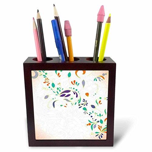 3dRose ph_119091_1 Boho Chic Modern Swirl Floral and Foliage Decorative Flower Vector Art Tile Pen Holder, 5-Inch