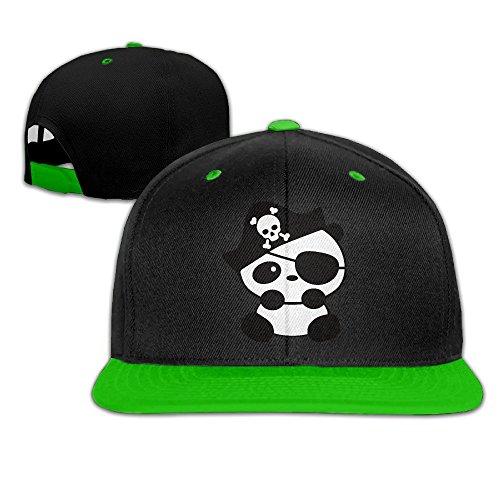 Animal Panda Cartoon Pirate Snapback Adjustable Baseball Unisex Cap KellyGreen (Cartoon Pirate Hat)