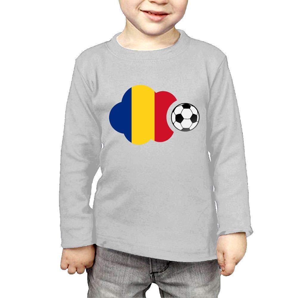Fryhyu8 Baby Girls Kids Romania Flag Soccer Ball Printed Long Sleeve 100/% Cotton Infants Tee Shirt