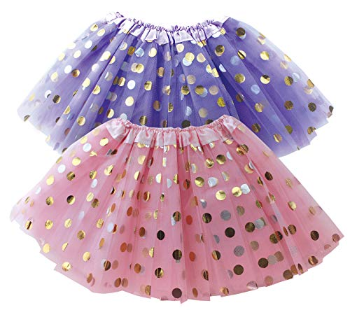 (Polka Dot Tutu Skirt for Toddler Girls/Tutu Set Pink Tulle Skirts & Purple Tutus Sets- Girl Dress Up Birthday Party, Halloween Costume)